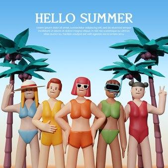 연단으로 여름날 3d 렌더링 템플릿 디자인 프리미엄 psd