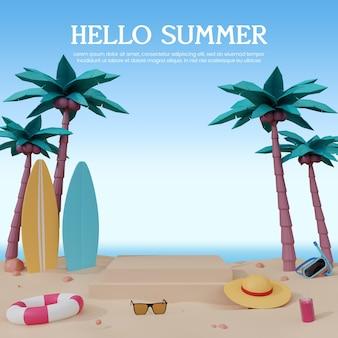 연단과 함께 여름날 3d 렌더링 템플릿 디자인