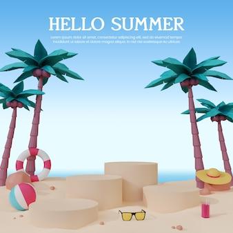 연단과 함께 3d 렌더링 템플릿 디자인 소셜 미디어 여름