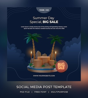 3d render, template social media post, summer sale with a podium, night theme