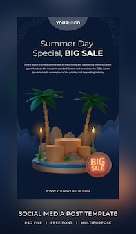 3d render template social media story sale with podium