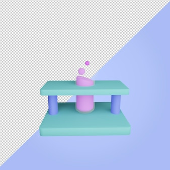 3d render test tube education icon