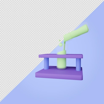 3d render test tube with green lliquid  education icon