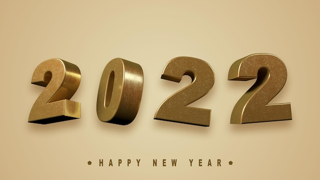 3d render text 2022 happy new year