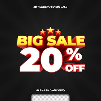 3d визуализация текста большая распродажа со скидкой 20 процентов