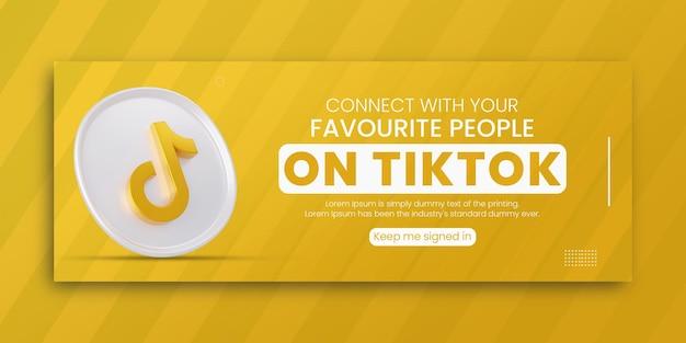 3d render tiktok business promotion for social media facebook cover design template