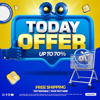 3d render today offer with megaphone and shopping cart rendering