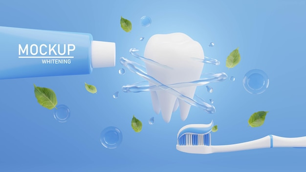 3d render of toothpaste with toothbrush for mockup branding