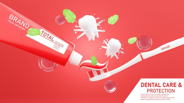 3d render of toothpaste with toothbrush mockup design