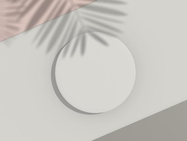 製品をモックアップおよび表示するための白い空白のシリンダーフレームの3dレンダリング上面図
