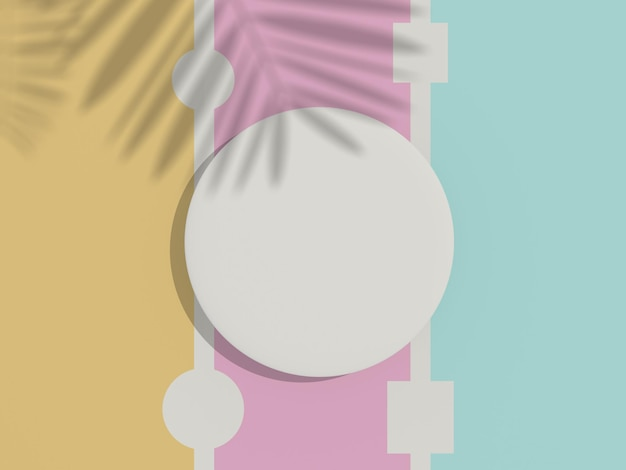 조롱 및 디스플레이 제품을 위한 흰색 빈 실린더 프레임의 3d 렌더링 상단 보기
