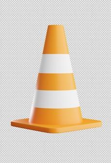 3d render of traffic cone on transparent background Premium Psd