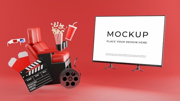 3d render of tv mockup with online cinema time concept Premium Psd