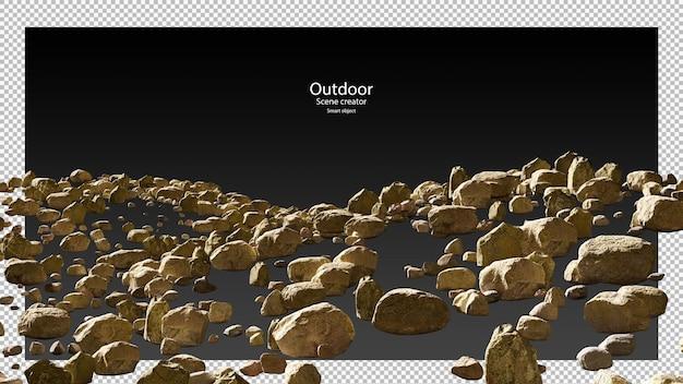 다양한 돌 세트 클리핑 패스의 3d 렌더링