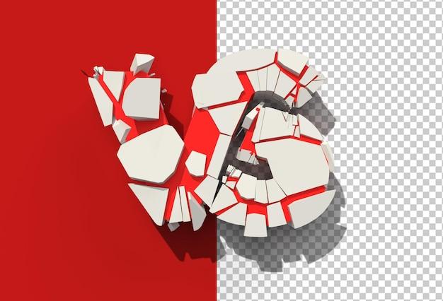 3d render vs company broken letter transparent psd file.