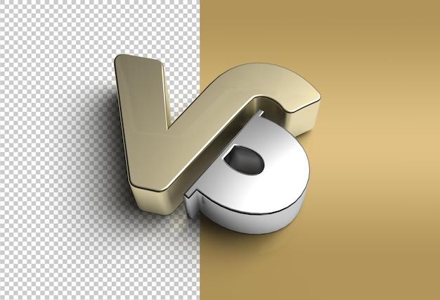 3d render vs company metal letter logo transparent psd file.