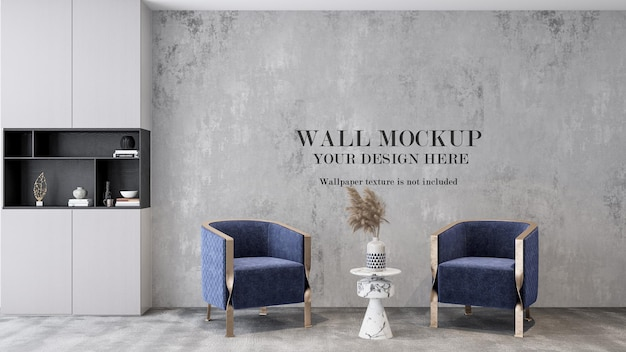 3d render wall mockup behind blue armchairs