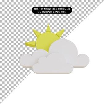 3d 렌더링 날씨 아이콘 흐린