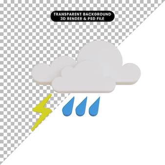 3d 렌더링 날씨 아이콘 비와 천둥