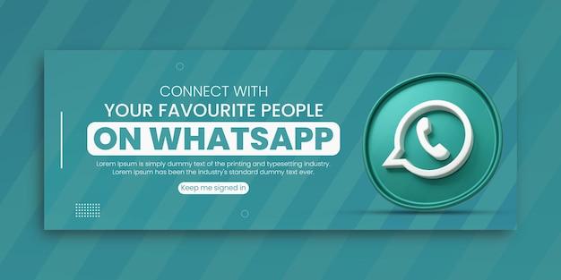 3d render whatsapp business promotion for social media facebook cover design template Premium Psd