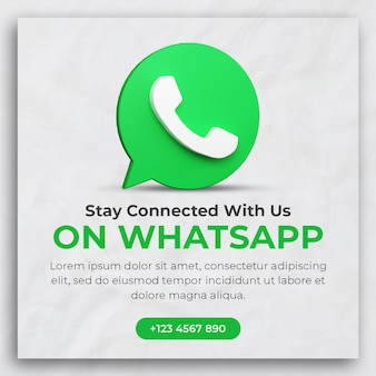 3d render whatsapp business promotion for social media post template