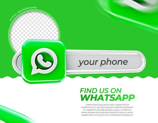 Whatsappが電話を見つける3dレンダリング