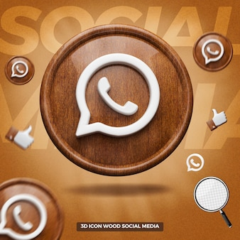 3d render whatsapp icon on front wooden circle