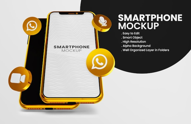 3d render whatsapp icon on gold smartphone mockup