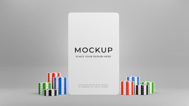 3d render of white card with casino chip for product display