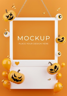 3d render of white frame or social platform with halloween concept,pumpkin,balloons,confetti for product display