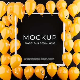 3d render of white frame with orange balloons,poster shopping concept for product display