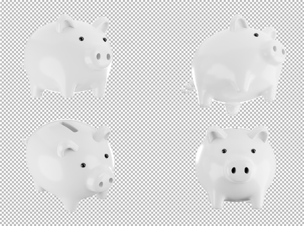3d render of white piggy bank on transparent background,with clipping path