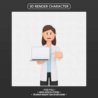 3d render woman character pointing up laptop