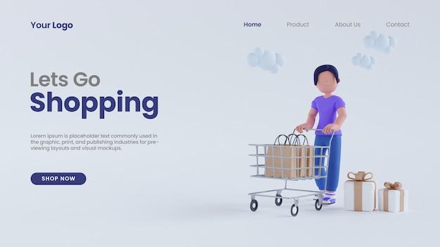 コンピューター画面のコンセプトのランディングページpsdテンプレートを使用してカートショッピングで女性の女性を3dレンダリング