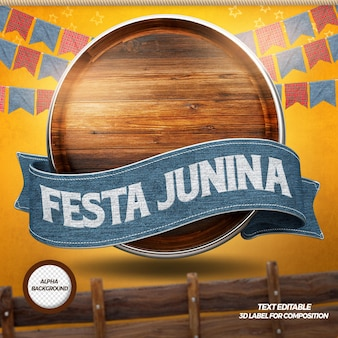 3d render wood with ribbons for party junina composition