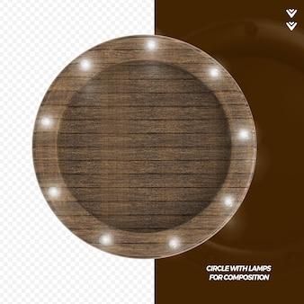 ランプレンダリング付きの3dレンダリング木製フレーム
