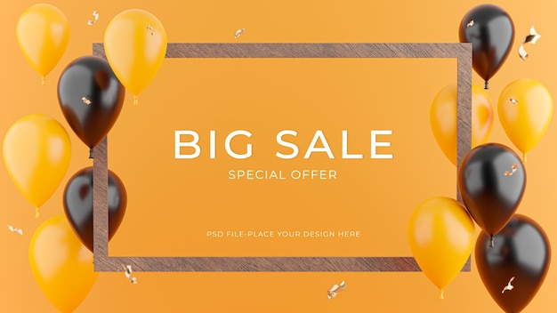 3d render of wooden frame with sale balloon concept for product display