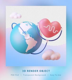 惑星、愛、聴診器で世界保健デーを3dレンダリング