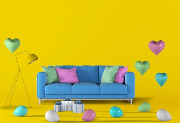3d render of yellow studio with sofa, balloon.