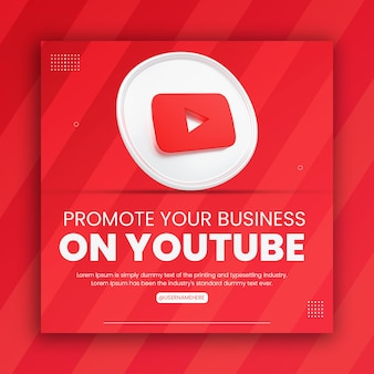 3d render youtube icon business promotion for social media post design template
