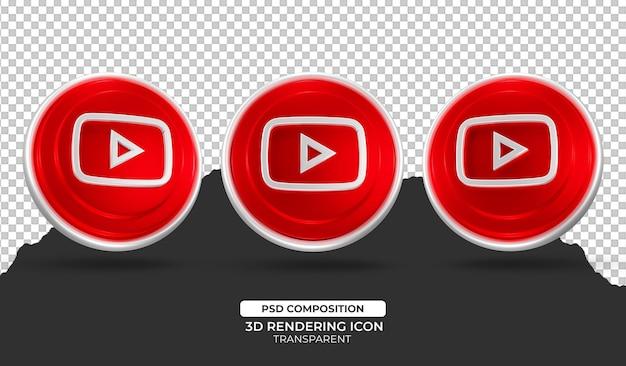 3d визуализация youtube значок иллюстрации