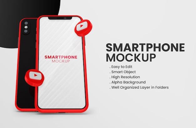 빨간색 스마트 폰 모형에 3d 렌더링 유튜브 아이콘