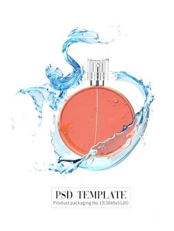 白い背景の上の水のしぶきとオレンジ色の香水3d render