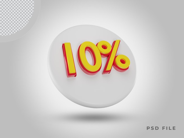 프리미엄 psd가 있는 3d 렌더링 10% 색상 아이콘