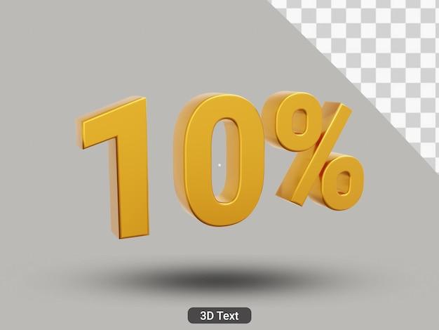3d 렌더링 10% 황금색 텍스트