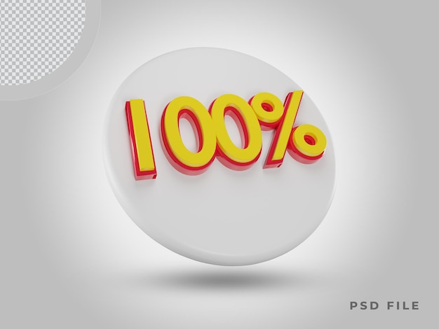 프리미엄 psd가 있는 3d 렌더링 100% 색상 아이콘