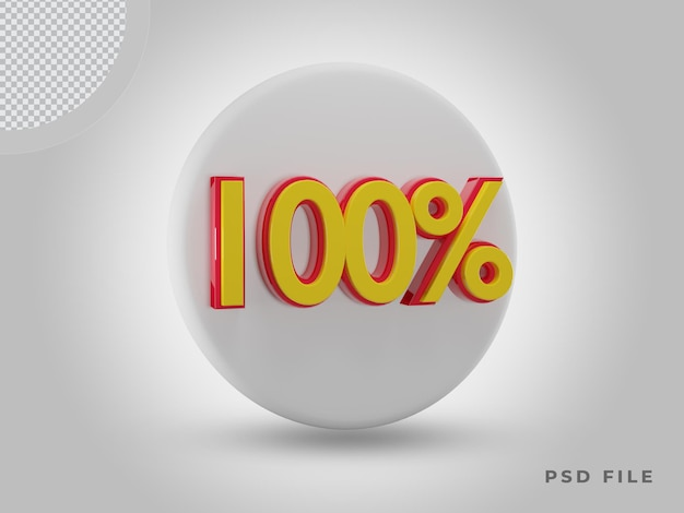프리미엄 psd가 있는 3d 렌더링 100% 측면 보기 색상 아이콘