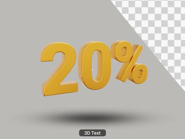 3d 렌더링 20% 황금색 텍스트