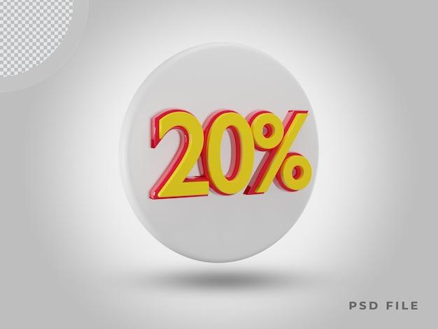 프리미엄 psd가 있는 3d 렌더링 20% 측면 보기 색상 아이콘