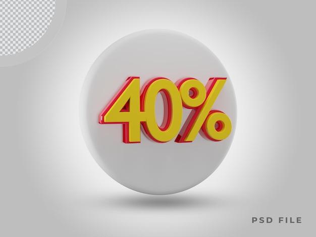 프리미엄 psd가 있는 3d 렌더링 40% 측면 보기 색상 아이콘